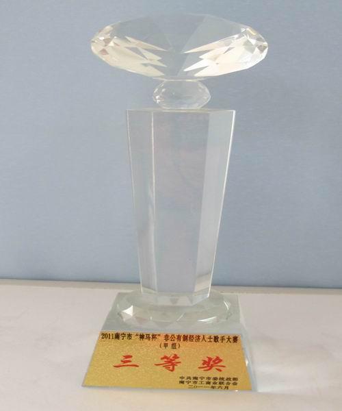 """2011年南宁""""神马杯""""非公人士歌手大赛获甲组三等奖"""